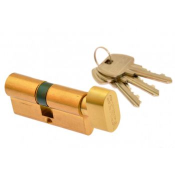 Cylinder lock Gerda E1 36K/28 with knob, brass
