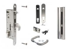 Set LOCINOX for Gates and Wickets: Mortise Lock H-Metal 92/35, striking plate, handle, cylinder 27/27; INOX, stainless steel