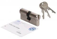 Cylinder CES PSM 40/40 nickel, certificated 6.D class, 3 serrated keys