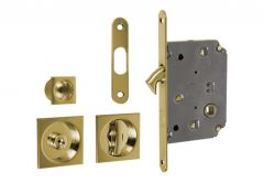 Lock for sliding door with square handle, Gold, WC