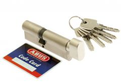 Cylinder lock ABUS KD10 30K/35 pearl with knob, nickel 5.2 class