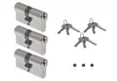 Cylinder ABUS E45N 30/50 nickel KA01, key alike,3 keys for each one