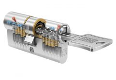 Cylinder Winkhaus N-tra 30/50 nickel, certificated cl. 6.2 C, 3 drilled keys