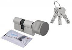 Door Cylinder DORMA DEC 261 35G/35, with round knob Nickel,  3 keys certificated 6.2 C