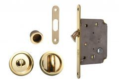 Mortise Lock for sliding doors with fitcangs, OL, brass, WC