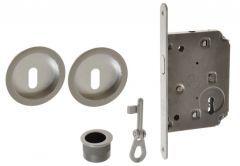 Lock for sliding doors with round handle, Matt Chrome, BB