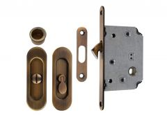 Lock for sliding doors with long handle, Patina, WC