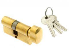 Cylinder lock MD 45K/50 brass z gałką