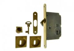 Lock for sliding door with square handle, Matt Gold, PZ
