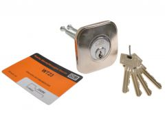 Cylinder for surface lock WT23 chrome with escutcheon for CYKLOP lock