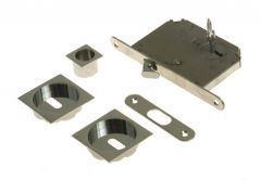 Lock for sliding door with square handle, Chrome, PZ