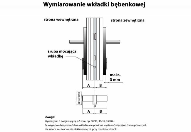Cylinder lock MD-WA with knob, nickel certificate C 6.0 class.2. 30K/5