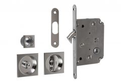Lock for sliding door with square handle, Chrome, WC