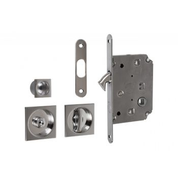 Lock For Sliding Door With Square Handle Matt Chrome Wc