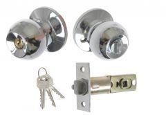 Door Round Knob  with Cylinder CH 6871, PZ  - Chrome