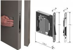 Mortise Lock B-NO.HA with open plate, assembly without door handle