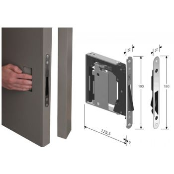Mortise Lock B-NO.HA with open plate, assembly without handle