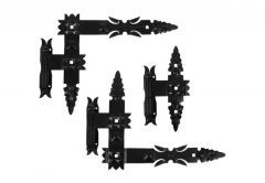 Set of Bearing Forged Hinges with hooks 400x320x50 - Black (3 pcs), left