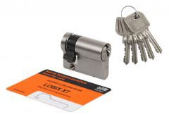 Cylinder LOBIX XT WNP622B 30/9 BUMPING matte nickel, 5 keys, 6.2 C class