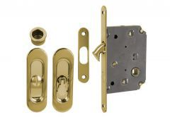 Lock for sliding doors with long handle, Gold, WC
