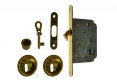 Lock for sliding doors with round handle, Gold, BB