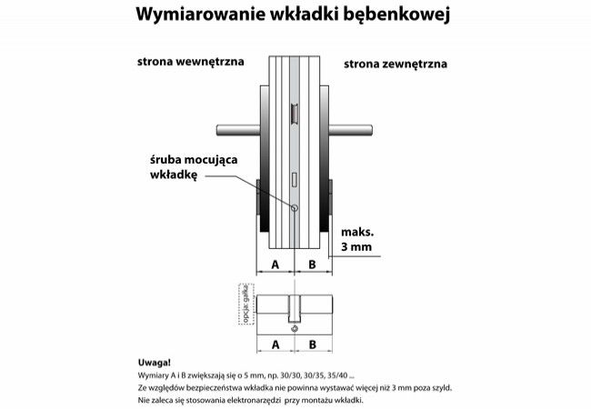 Cylinder lock B-Harko H6 9/26 nickel satin