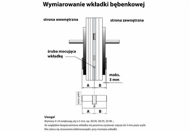Cylinder lock MD-WA with knob, nickel certificate C 6.0 class.2. 35K/4