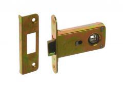 Mortise Lock for handle JANIA with flat Striking Plate, Galvanized Yellow