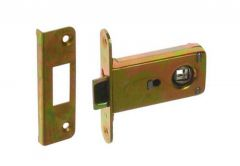 Mortise Lock for handle JANIA with flat Striking Plate, Galvanized Yel