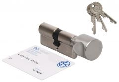 Cylinder CES PSM 30G/45 with knob, nickel, certificated 6.D class, 3 serrated keys