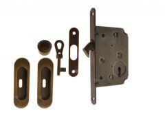 Lock for sliding doors with long handle, Patina, BB, folded key