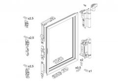 Basic fitting set MASTER R/U WEEN for aluminium window, brown ( max. 1