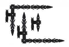 Set Bearing Forged Hinges with hooks 600x460x50 ? Black, left (3 pcs)