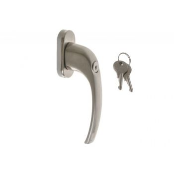 Window Handle 15434 L-35 Oval Plate with Key - Stainless Steel