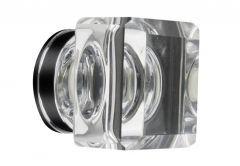 Furniture Knob LEA Square (35x35mm) - Crystal, White
