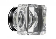 Furniture Knob LEA Square (35x35mm) - Crystal, White