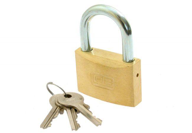 Padlock LOB KM 60, 3 Small Keys in set - Brass