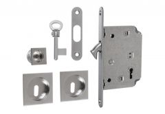 Lock for sliding door with square handle, Matt Chrome, PZ