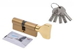 Door Cylinder DORMA DEC 260 35G/30,  with triangular knob brass,  5 keys  (certificated 5.1 B class)
