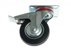 Swivel Castor CKPW-SG 160W-HC with brake - Black Gum (Capacity up to 100kg)