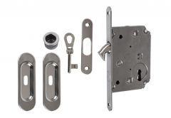 Lock for sliding doors with long handle, Chrome, BB, folded key