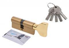 Door Cylinder DORMA DEC 260 40G/40,  with triangular knob brass,  5 keys  (certificated 5.1 B class)