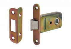 Mortise Lock for handle JANIA with angular plate, Galvanized Yellow (set)