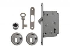 Lock for sliding doors with round handle, Chrome, BB