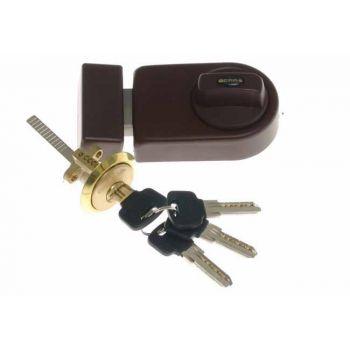 Rim Lock GERDA ZN 200 Reinforced, 4x keys - Brown