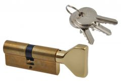Cylinder lock ISEO F5 40K/30 with knob brass