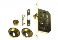 Mortise Lock for sliding doors with fitcangs, OL, brass, BB