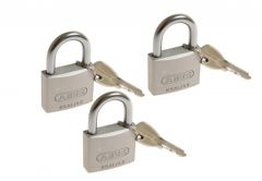 3 Padlocks ABUS TITALIUM 40 mm key alike, 4 keys