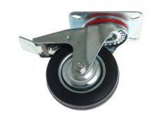 Swivel Castor CKPW-SG 125W-HC with brake - Black Gum (Capacity up to 100kg)