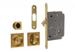 Lock for sliding door with square handle, Matt Gold, WC